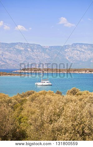 Pleasure boats for tourists moored in a quiet bay. Turkey.