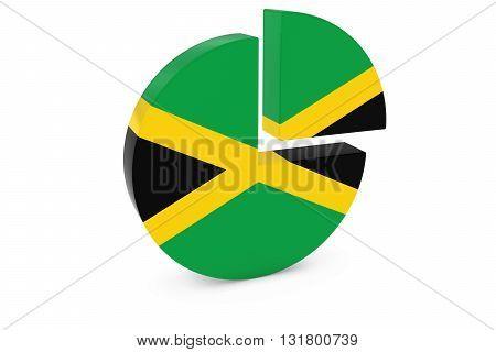 Jamaican Flag Pie Chart - Flag of Jamaica Quarter Graph 3D Illustration