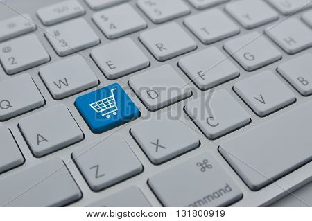 Shopping cart icon on modern computer keyboard button Shopping online concept