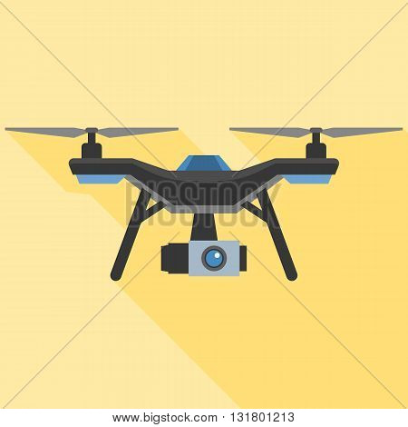 Drone with camera vector, flat design with long shadow