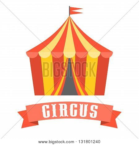 Circus tent vector, flat design no background
