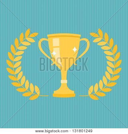golden trophy vector with wreath, flat design