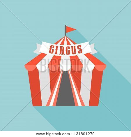 Circus tent with long shadow vector, flat design