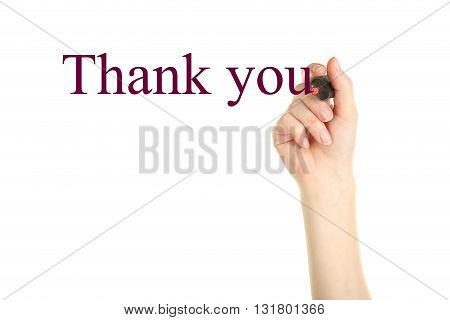 Female hand with marker on white background, thank you
