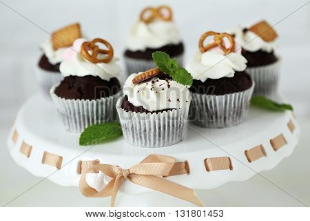 Chocolate Cupcakes On A Stand, Close Up