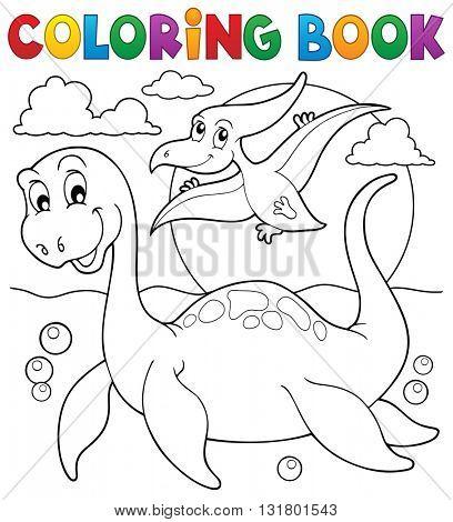 Coloring book dinosaur theme 7 - eps10 vector illustration.