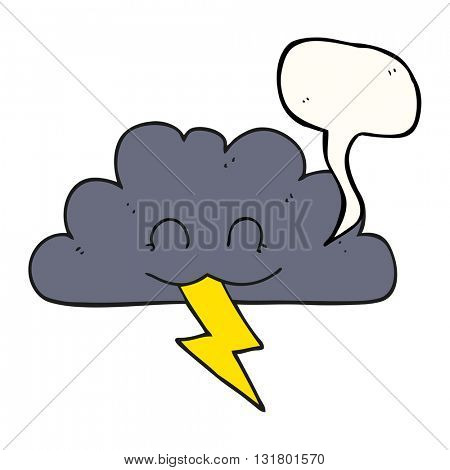 freehand drawn speech bubble cartoon storm cloud