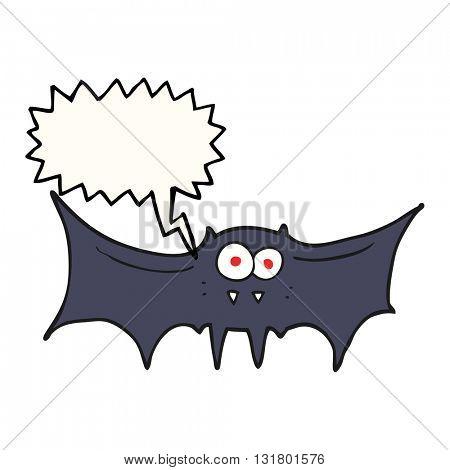 freehand drawn speech bubble cartoon vampire bat
