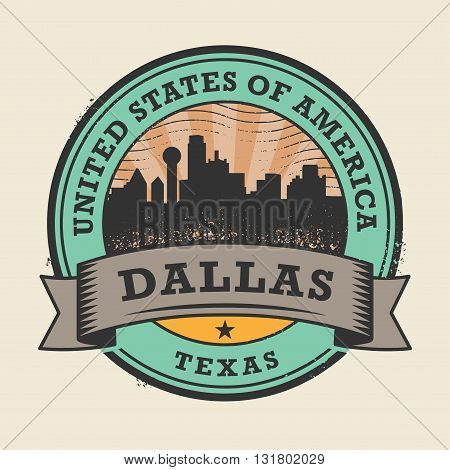 Grunge rubber stamp or label with name of Texas, Dallas, vector illustration