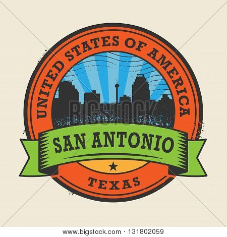 Grunge rubber stamp or label with name of Texas, San Antonio, vector illustration