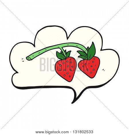 freehand drawn speech bubble cartoon strawberries