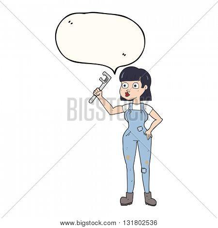 freehand drawn speech bubble cartoon female plumber