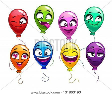 Funny cartoon balloons with comic faces, cute bright balloon characters set, vector colorful balloons icons on white background