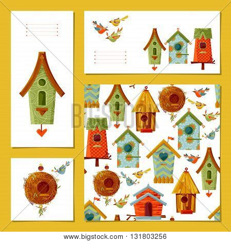 Set of 4 universal cards with birdhouses and birds. Template. Vector illustration