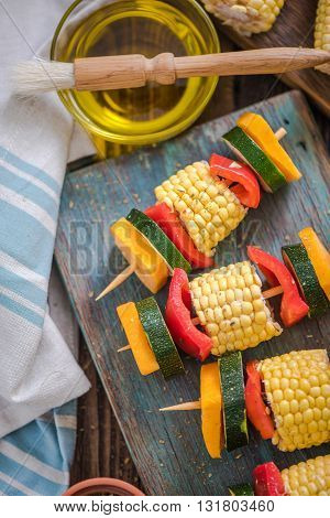 Preparation For Barbecue Party, Vegetable Skewers