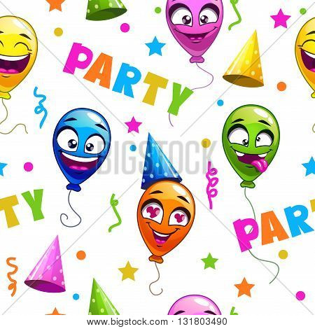 Funny seamless pattern with party decor elements on white background, vector holiday texture with cartoon balloons