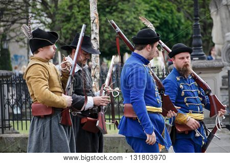 Kosice Slovakia - May 07 2016: Musketeers at the city festival