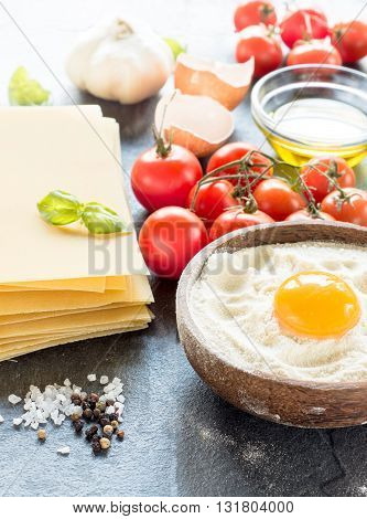 Photos of lasagna concept on rustic background