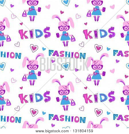 Funny fashion kids seamless pattern with cute little bunny girl with bag and phone on white background, fancy girlish vector template for textile print