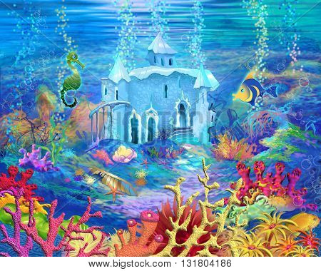 Digital Painting Illustration of a Mysterious and Fantasy Undersea World. Fantastic Cartoon Style Character Fairy Tale Story Background Card Design