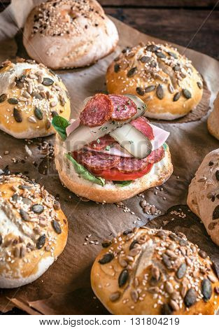 Photos of mini sandwich on rustic background