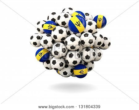 Pile Of Footballs With Flag Of Barbados