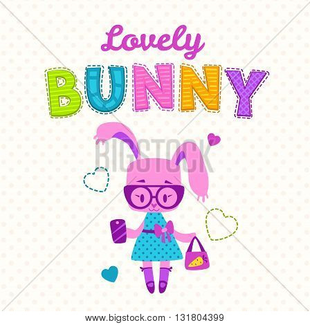 Cute girlish illustration, funny fashion kids print, cute bunny girl with bag and phone, fancy girlish vector template for t shirt prints
