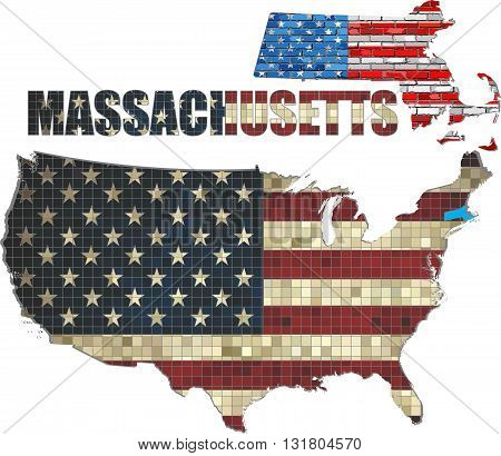 USA state of Massachusetts on a brick wall - Illustration, The flag of the state of Massachusetts on brick textured background,  Massachusetts Flag painted on brick wall, Font with the United States flag,  Massachusetts map on a brick wall