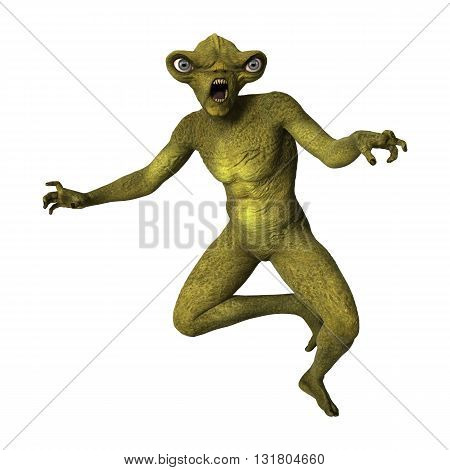 3D digital rendering of a green alien isolated on white background