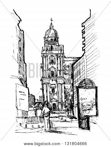 Hand drawn vector sketch of European street. Beautiful drawn city. Sketch style city. Malaga, Spain.