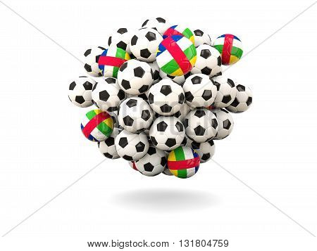Pile Of Footballs With Flag Of Central African Republic
