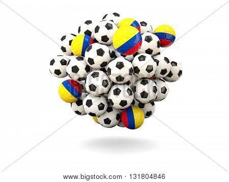 Pile Of Footballs With Flag Of Colombia