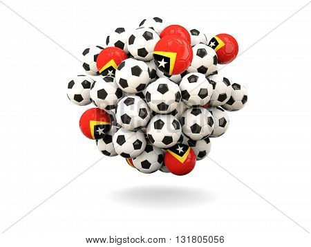 Pile Of Footballs With Flag Of East Timor