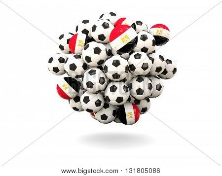 Pile Of Footballs With Flag Of Egypt