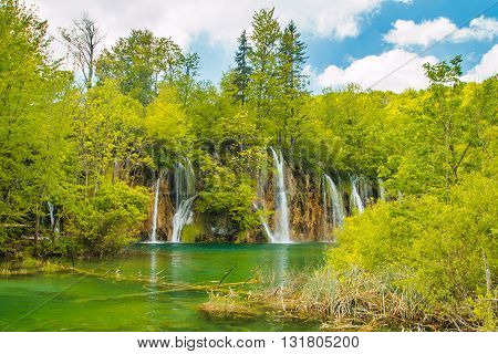 Beautiful waterfall in the Plitvice Lakes National Park in Croatia