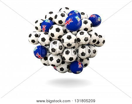 Pile Of Footballs With Flag Of Falkland Islands