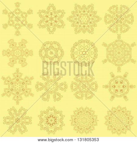 Round Geometric Ornaments Set Isolated on Yellow Background