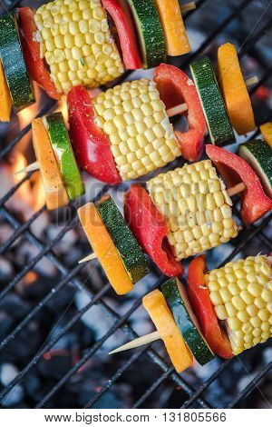 Healthy Bbq Skewers On Grill With Flames