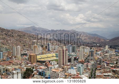 Aerial View of the city La Paz in Bolivia on a cloudy day.