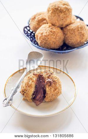 Photos of sweet dumplings on white background