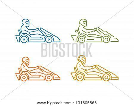 Vector colored line karting logo. Linear sport symbol for go kart.