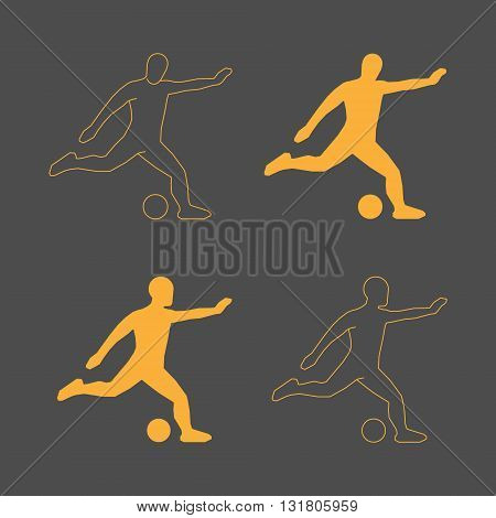 Vector line symbol soccer. Gold football player figure. Line silhouette of soccer player. Gold silhouette soccer player.