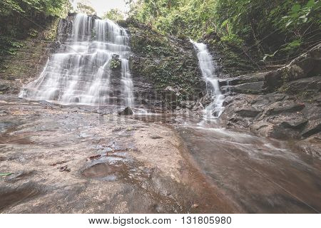 Majestic Waterfall In The Dense Rainforest Of Kubah National Park, West Sarawak, Borneo, Malaysia. D