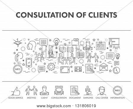 Outline design concept web banner for consultation of clients. Vector icons for consultation clients.