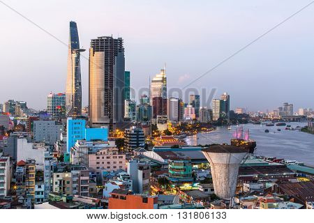 HO CHI MINH CITY, VIETNAM - JAN 12, 2016: Top view of Ho Chi Minh City at evening. Ho Chi Minh, former Saigon, is located in the South of Vietnam, is the country's largest city, population 8 million.