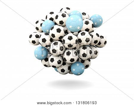Pile Of Footballs With Flag Of Micronesia