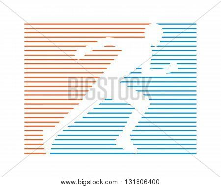 Line running symbol. Vector running and marathon logo. Line silhouette of runner. Vector figure athlete running.