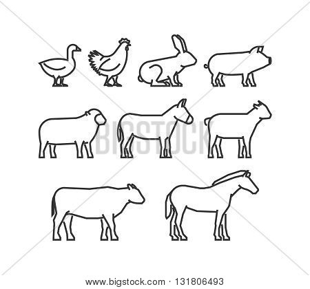 Cool line icons farm animals. Vector black farm animals on a white background.