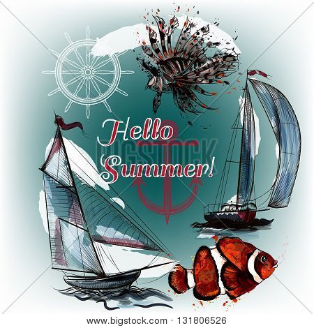 Hello summer background with ships fishes and ink spots sea theme