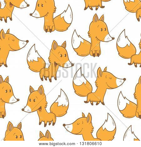 Seamless pattern with cute cartoon foxes on a white background. Funny animals. Children's illustration. Vector image.